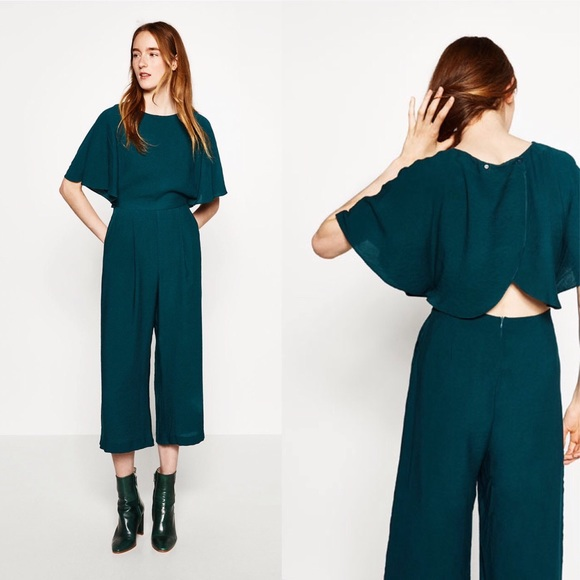 fc723fc83bb ZARA GREEN CROPPED LAYERED JUMPSUIT