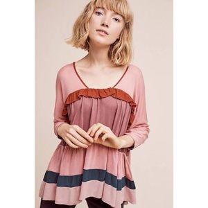 NWT Anthro Meadow Rue Colorblock Ruffle Top XS