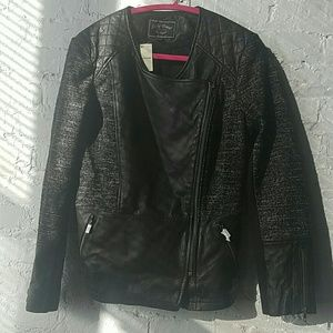 Lucky Brand Jackets & Blazers - NWT Lucky Brand Leather and knit Moto Jacket