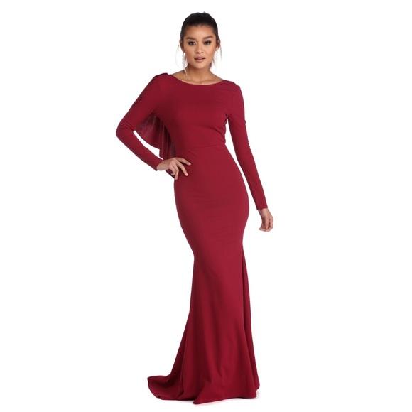 WINDSOR Dresses   Rosie Burgundy Ruffled Prom Dress   Poshmark