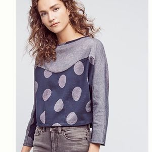 ANTHROPOLOGIE pullover top blue nwt