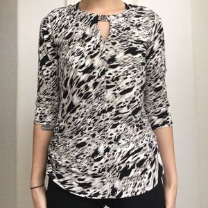 Vince Camuto Printed Rouched quarter sleeve top