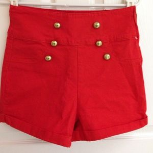 Arden B Pants - ARDEN B High Waist Shorts with Front Buttons
