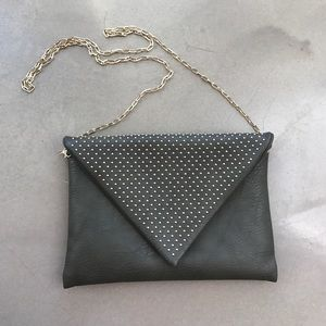 Urban Expressions Handbags - Grey Leather Purse with Gold Studs and Chains