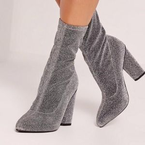 NWT Missguided Glitter Sock Boots size US 7
