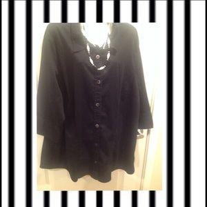 Plus Black oLD NaVY Button Down Shirt ~ 4X ~ EUC
