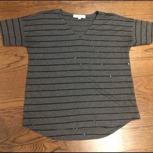 LOFT striped tshirt with Sequence accents - size s