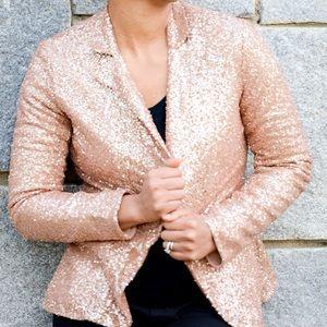 isabel lu Jackets & Blazers - Rose gold sequin blazer