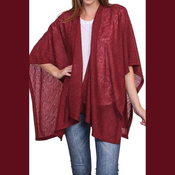 Burgundy Kimono Poncho