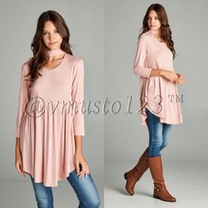  Baby Pink Neck Wrap Tunic Top
