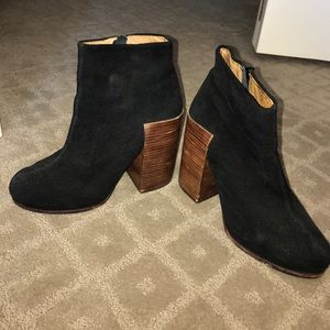 Jeffrey Campbell Wood Heeled Booties Size 8