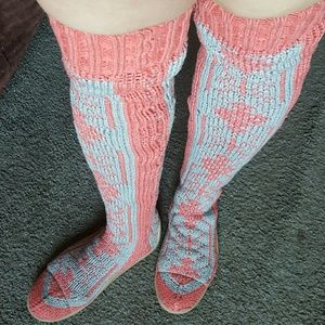 Gypsy 05 Shoes - Gypsy 05 Coral and Grey Sweater Socks