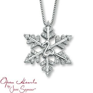 Open Hearts Snowflake Necklace