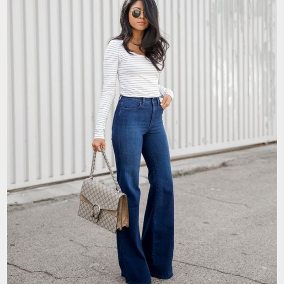High waisted flare jeans fashion