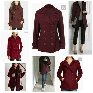 Jackets & Blazers - 🎉NEW LISTING🎉 Burgundy peacoat size 8