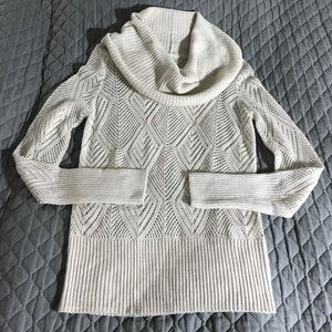 Lucky Brand Sweaters - Lucky Brand lace knit beige cowl neck sweater