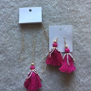 New pink fuchsia H&M earrings and necklace tassel