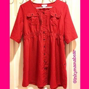 "Oh! Mamma Tops - Red PolkaDot Maternity Shirt w""Two Way"" Sleeves XL"