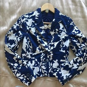 Old Navy Jackets & Blazers - ON Navy and Cream Patterned Blazer