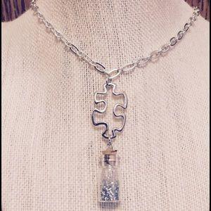 Jewelry - Puzzle Piece Silver Glitter Wish Necklace