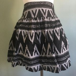 F21 tribal printed skater skirt with pockets sz S