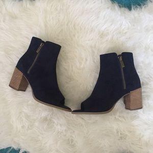 Faux Suede Peep Toe Zip Up Booties!
