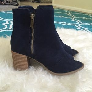 Shoes - Faux Suede Peep Toe Zip Up Booties!