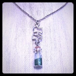 Jewelry - Puzzle Piece Green Glitter Wish Necklace