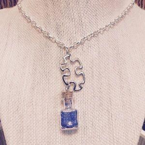 Jewelry - Puzzle Piece Blue Glitter Wish Necklace