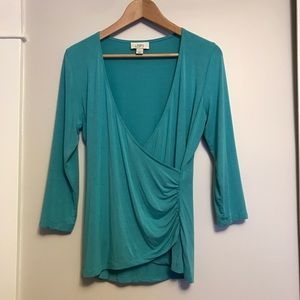 LOFT Tops - LOFT - wrap top in turquoise teal - size Medium