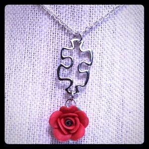 Jewelry - Puzzle Piece Red Rose Necklace
