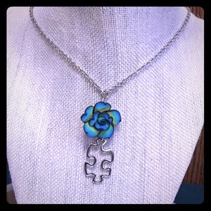 Jewelry - Puzzle Piece Blue Flower Necklace