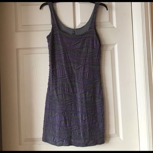 Free People ruched purple and grey striped dress