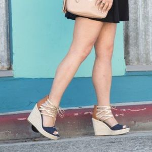 Shoes - Espadrilles Denim and Gold Wedges!