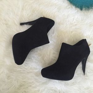 Shoes - Black Faux Suede Heeled Booties!