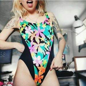 Vintage Other - festival floral swimsuit - bodysuit - one piece