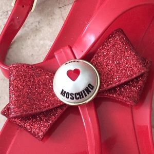 Love Moschino Shoes - ✨Love Moschino✨Red sandals with glittered red bow✨
