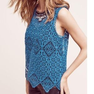 Deletta crocheted top nwt Teal