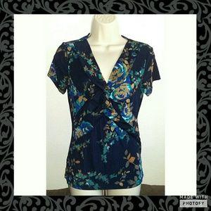 Jaclyn Smith Tops - Short Sleeve Rose Top