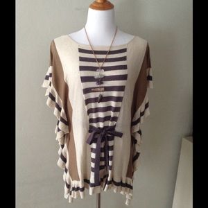 Anthropologie Striped Crimped Poncho