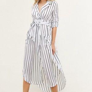 Striped Asymmetrical Maxi Dress with slit!