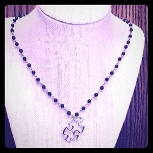Jewelry - Puzzle Piece Black Rosary Chain Necklace
