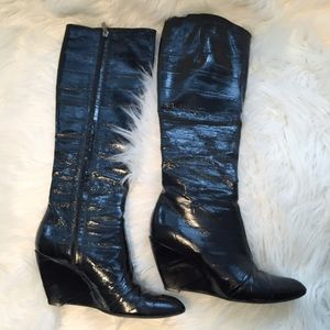 Sigerson Morrison Shoes - Sigerson Morrison knee high patent wedge boots 8
