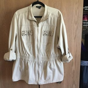 torrid Jackets & Blazers - 🎈NEVER WORN🎈Tan peplum jacket