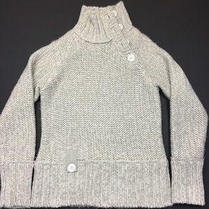 Lole Sweaters - Lolë Grey Knit Button Turtleneck Sweater