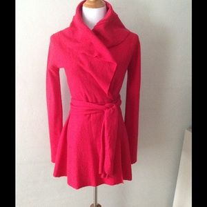 Guinevere  Belted Red Wool Swing Jacket