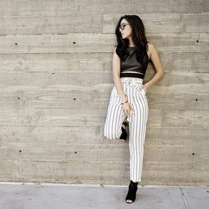 Style Link Miami Pants - WHITE PINSTRIPE HIGH WAISTED PANTS