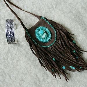 Medicine Pouch Necklace, Deerskin With Beadwork