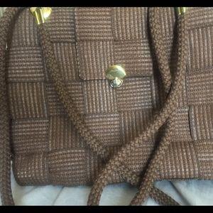 Passport Handbags - Ladies brown tweed large brown cross cross purse