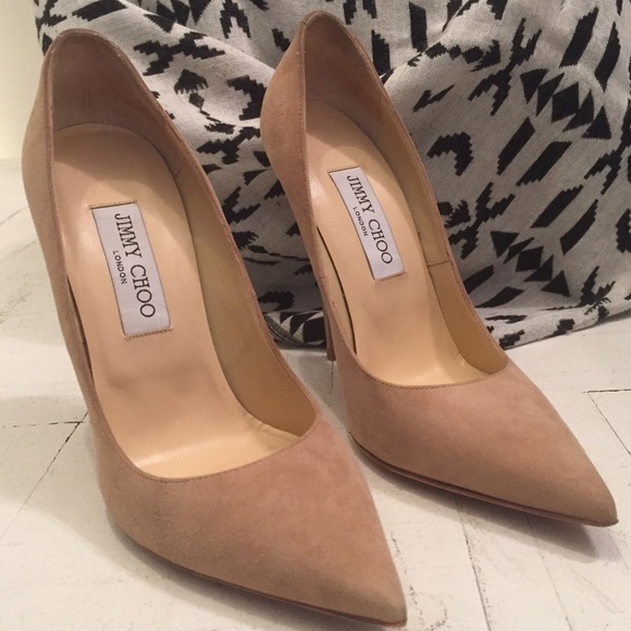 85c4397e541 Jimmy Choo Shoes - Jimmy Choo Anouk Nude Suede Pointy Toe Pumps